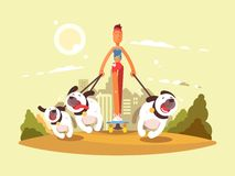 Woman on skate walk with dogs. Stroll in park with favorite pets. Vector illustration Royalty Free Stock Photography