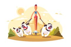 Woman on skate walking with dogs royalty free illustration