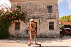 Woman on skateboard