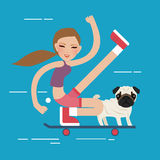 Woman skateboarding with dog pet healthy athletic girl have fun. Vector stock illustration