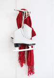 Woman skates and red scarf Stock Photo