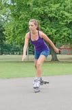 Woman is skating. Royalty Free Stock Image