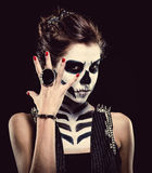 Woman with skeleton face art royalty free stock images