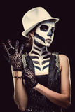 Woman with skeleton face art royalty free stock photo