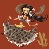 Woman skeleton in mystic dress dancing poster. Female barebone in suit with skulls print and floral hair decoration having fun at Day of the Dead party vector royalty free illustration