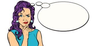Woman skeptical person mimics comic balloon. Pop art retro vector illustration kitsch vintage Royalty Free Stock Images