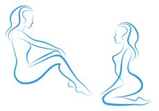 Woman sketch,. Beautiful nude woman silhouettes,  sketch Stock Photos