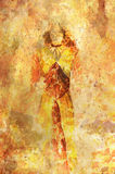 Woman sketch drawing, crackle  and lava structure. Stock Photography