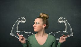 Woman with sketched strong and muscled arms Royalty Free Stock Images