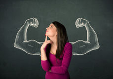 Woman with sketched strong and muscled arms Royalty Free Stock Photo