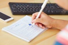 Woman sketching design Stock Photos