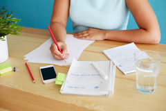 Woman sketching design. With pencil in office Stock Photography