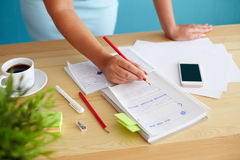 Woman sketching design. Woman sketching web design in office, top view Royalty Free Stock Photo
