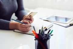 Woman sketching graphic sketch in office royalty free stock images