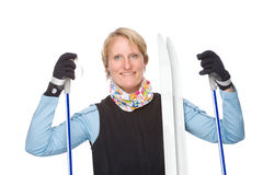 Woman with ski Royalty Free Stock Image