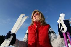 Woman and ski Royalty Free Stock Images