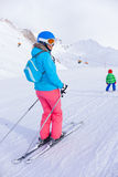 Woman On the Ski royalty free stock image