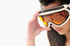 Woman ski glasses Royalty Free Stock Photo