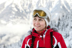 The woman in ski glasses Royalty Free Stock Photos