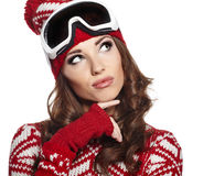 Woman with ski goggle isolated on white Stock Image