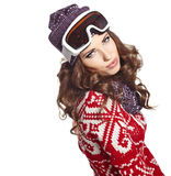 Woman with ski goggle isolated on white Royalty Free Stock Photography