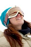 Woman with ski goggles Stock Image