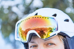 Woman in ski goggles Royalty Free Stock Images