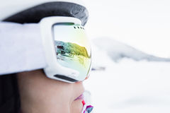 Woman in ski goggles Stock Images