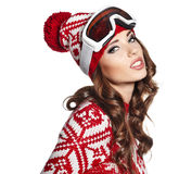 Woman with ski goggles Stock Photos