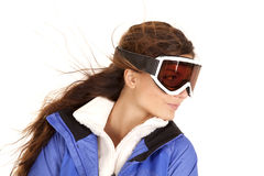 Woman ski goggles look side Stock Photography