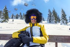 Woman with ski goggles Royalty Free Stock Image