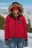 Woman in ski googles. Posing outdoor Stock Photo