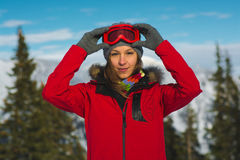 Woman in ski googles. Posing outdoor Royalty Free Stock Photos