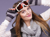 Woman in ski googles warm winter clothing portrait Stock Photography