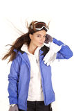 Woman ski jacket hand head Stock Photos