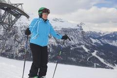 Woman and ski-lift Stock Photos