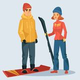 Woman with ski and man on snowboard. Man on snowboard and woman with ski. Skier people wearing cloth for winter extreme sports. Athlete boy and girl ready for Royalty Free Stock Images