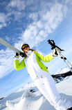 Woman in ski outfit stock photo