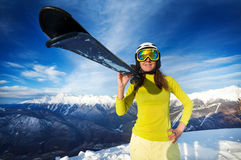 Woman with ski over mountain and sky Royalty Free Stock Photo