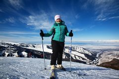 Woman on ski resort Stock Images
