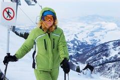 Woman on ski resort Stock Image