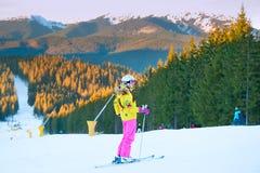 Woman at ski resort Stock Photo