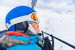 Woman On the Ski. Ski, skiing - Portrait of Woman on ski lift in winter resort Stock Photos