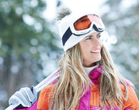 Woman on ski trip in winter Stock Images
