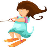 Woman playing on ski board. Vector Stock Photos