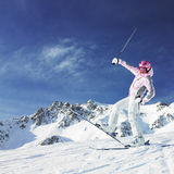 Woman skier Royalty Free Stock Photos