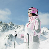 Woman skier Stock Photography
