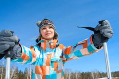 Woman - skier Royalty Free Stock Photos