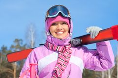 Woman - skier Stock Photo