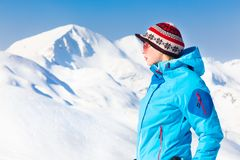 Woman skier. Stock Photos